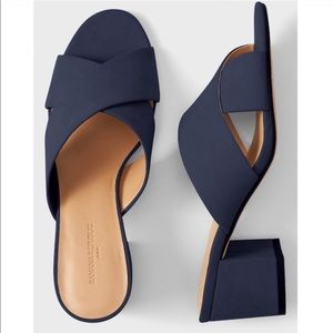 Banana Republic Block heel crossover sandals mules